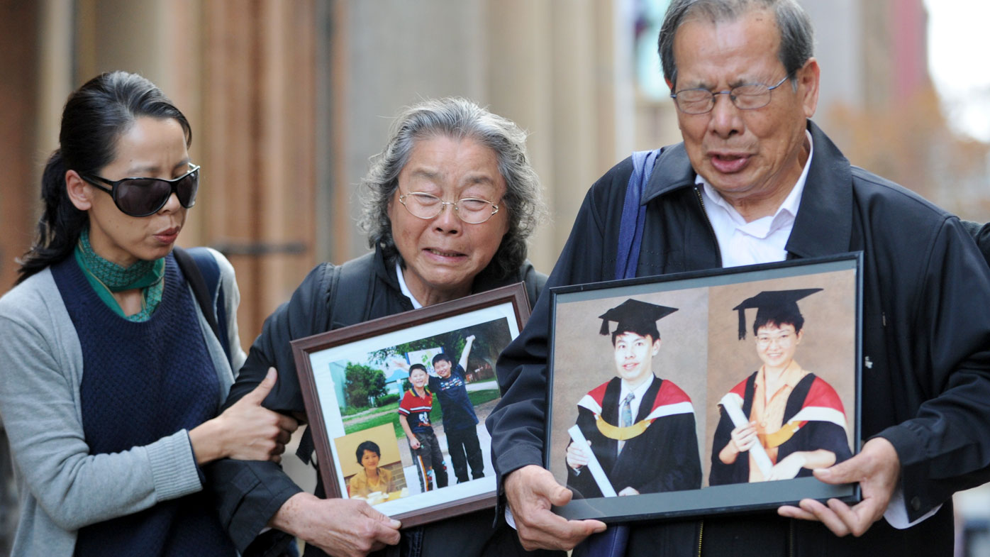 Grandfather Yang Fei Lin and grandmother Feng Qing Zhu with their daughter and wife of the accused, Kathy Lin. (AAP)