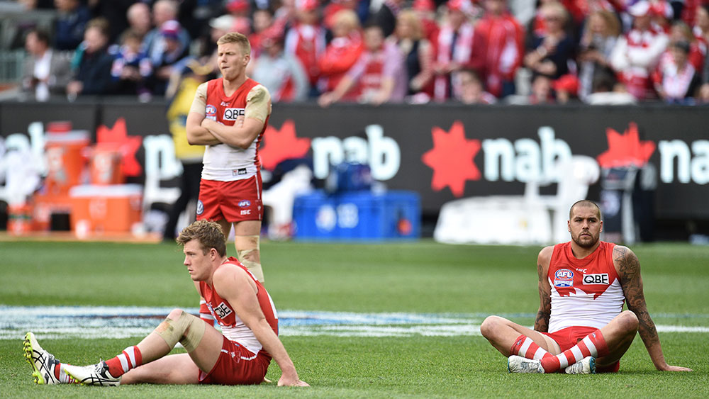 The Swans after the heartbreaking loss to the Bulldogs. (AAP)