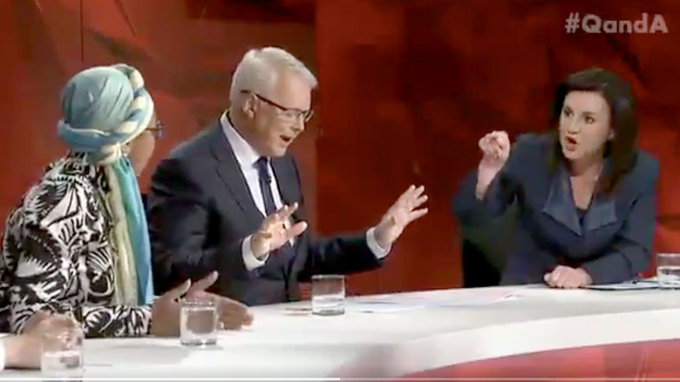 Senator Jacqui Lambie (far right) argues with Islamic leader Yassmin Abdel-Magied on Q&A. (ABC)