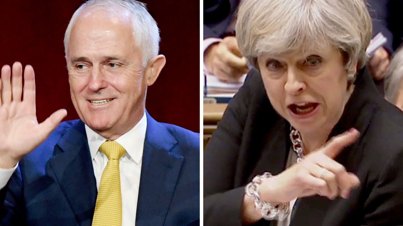 Australian Prime Minister Malcolm Turnbull (left) and UK Prime Minister Theresa May. (AAP)