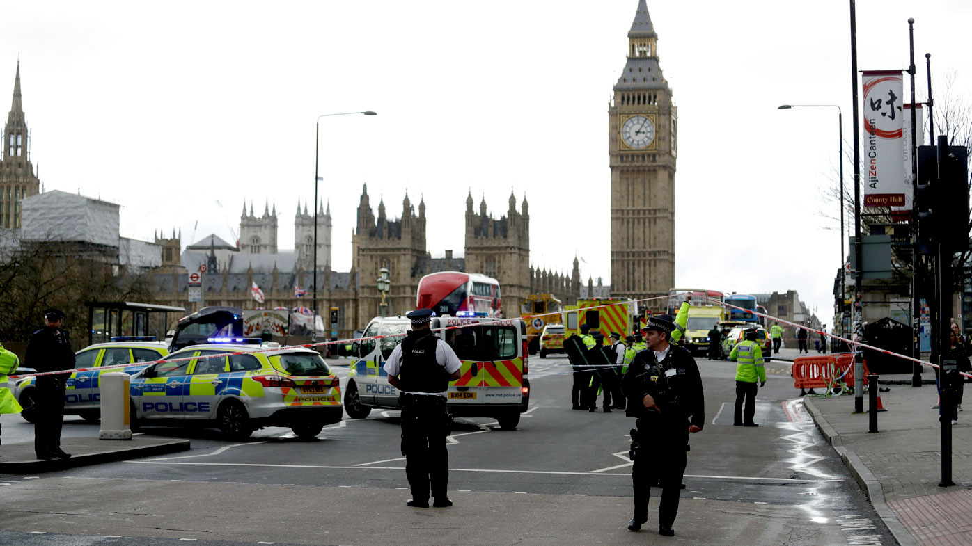 Police lockdown Westminster Bridge in central London after a terrorist incident. (AAP)