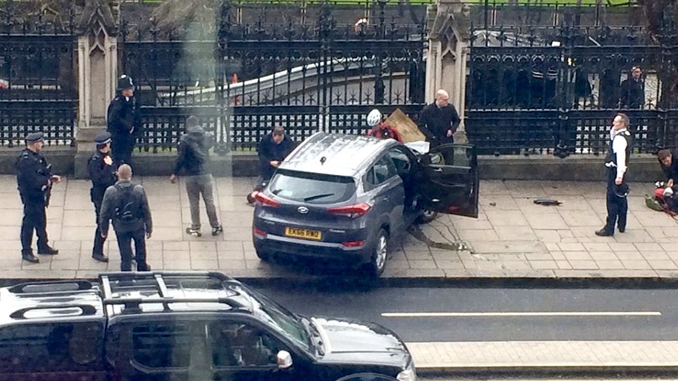 The car believed to have been driven into a crowd of people on Westminster Bridge in London. (Twitter)