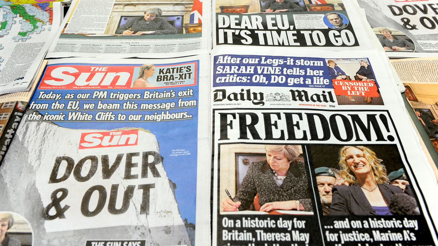 The front pages of British newspapers on the day Article 50 is triggered, officially beginning the UK's exit from the EU. (AFP)
