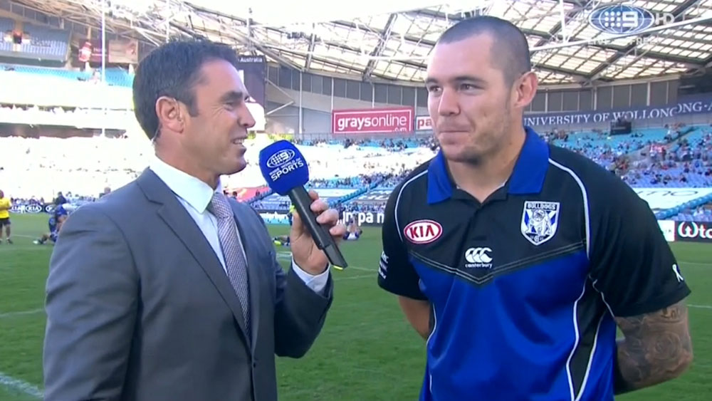 Channel Nine commentator Brad Fittler (l) and Canterbury forward David Klemmer.