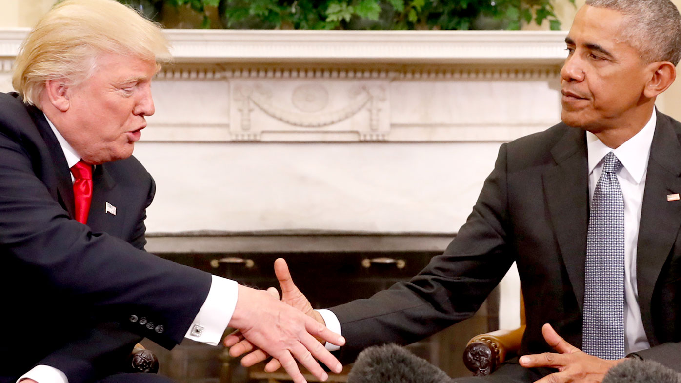 Donald Trump and Barack Obama meet in the White House after the 2016 presidential election. (AAP)
