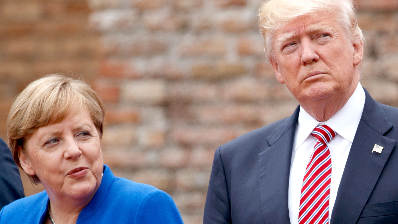Angela Merkel and Donald Trump at a G7 meeting in Italy. (AAP)