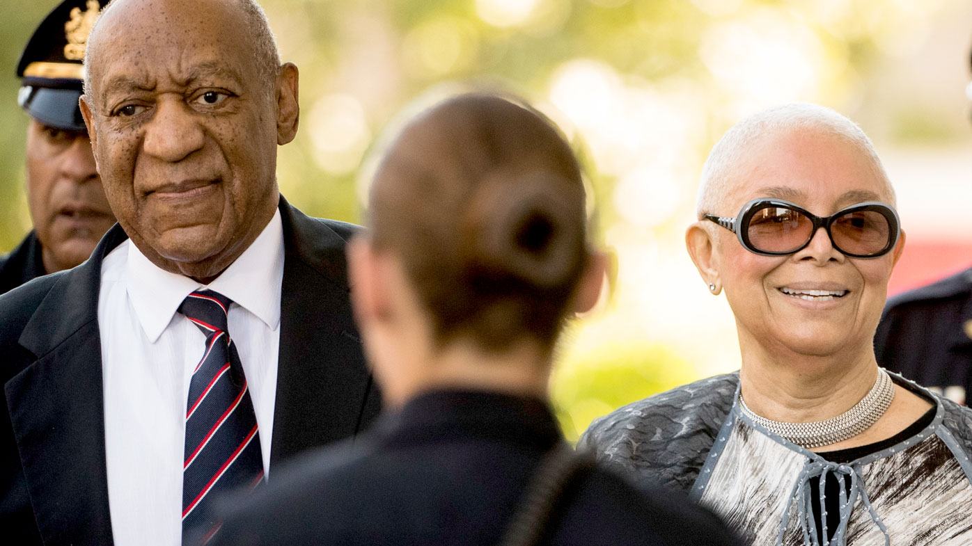 Bill Cosby arrives at court with his wife Camille. (AAP)