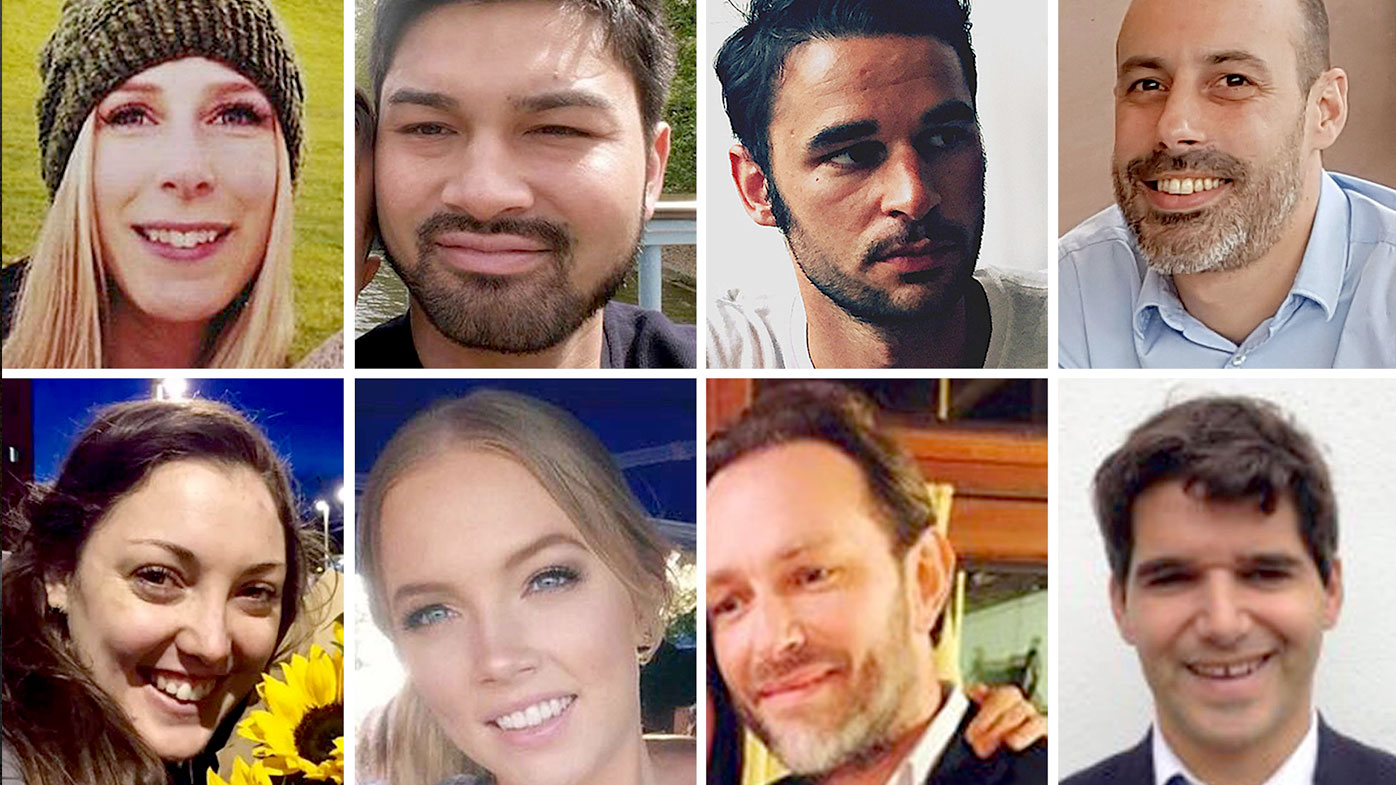 London Bridge terror victims (top row left to right) Canadian Christine Archibald, James McMullan, Alexandre Pigeard, French chef Sebastien Belanger, (bottom row left to right) Australian nurse Kirsty Boden, Australian Sara Zelenak, Xavier Thomas and Spanish banker Ignacio Echeverria. (AAP)