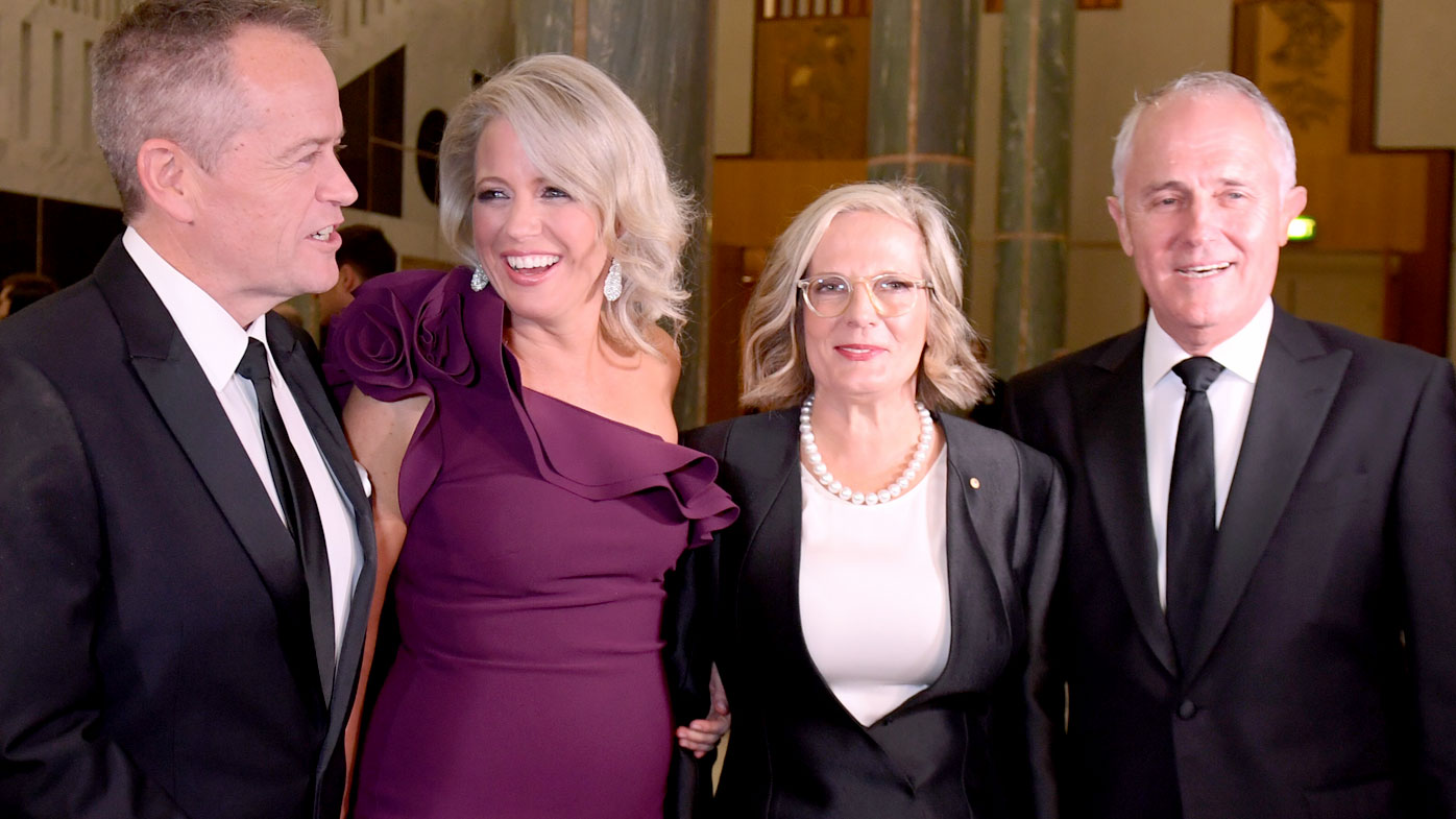 Opposition Leader Bill Shorten and his wife Chloe, and Prime Minister Malcolm Turnbull and his wife Lucy. (AAP)