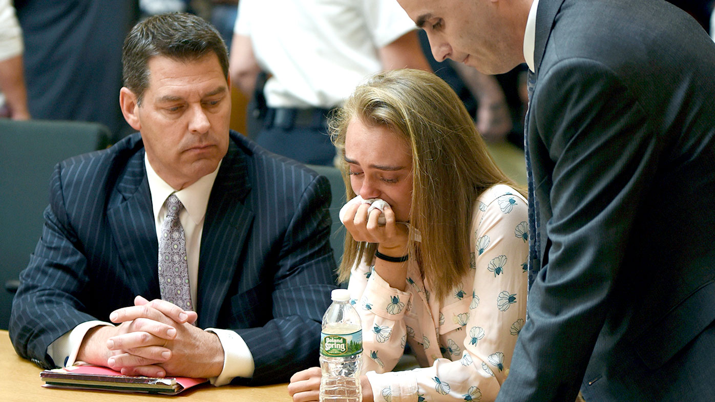 Michelle Carter cries in court as she's convicted of involuntary manslaughter. (AAP)