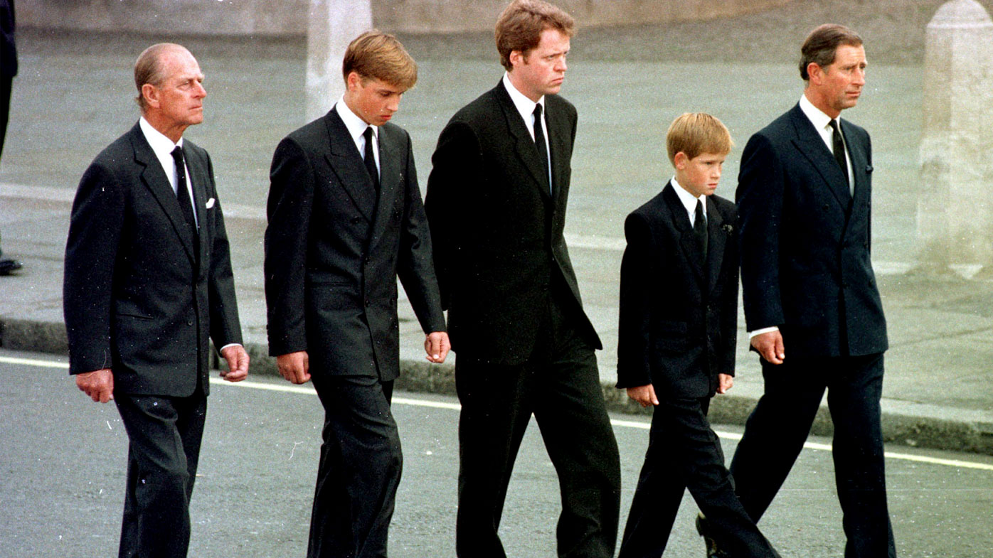 Prince Harry (second from right) walks behind his mother's coffin with grandfather Prince Philip, brother Prince William, uncle  Earl Althorp and father Prince Charles. (AAP)