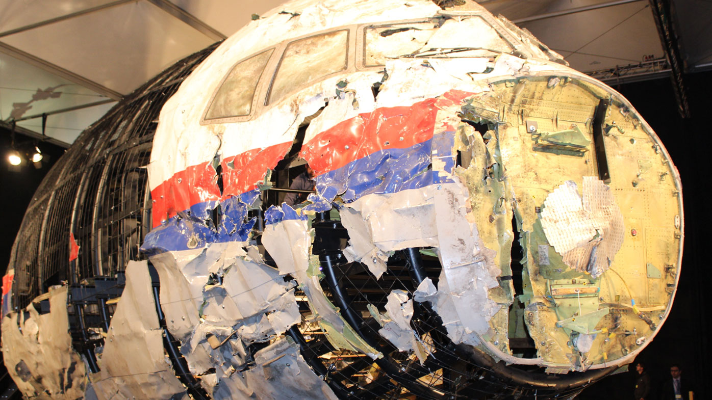 The rebuilt wreckage of MH17. (AAP)