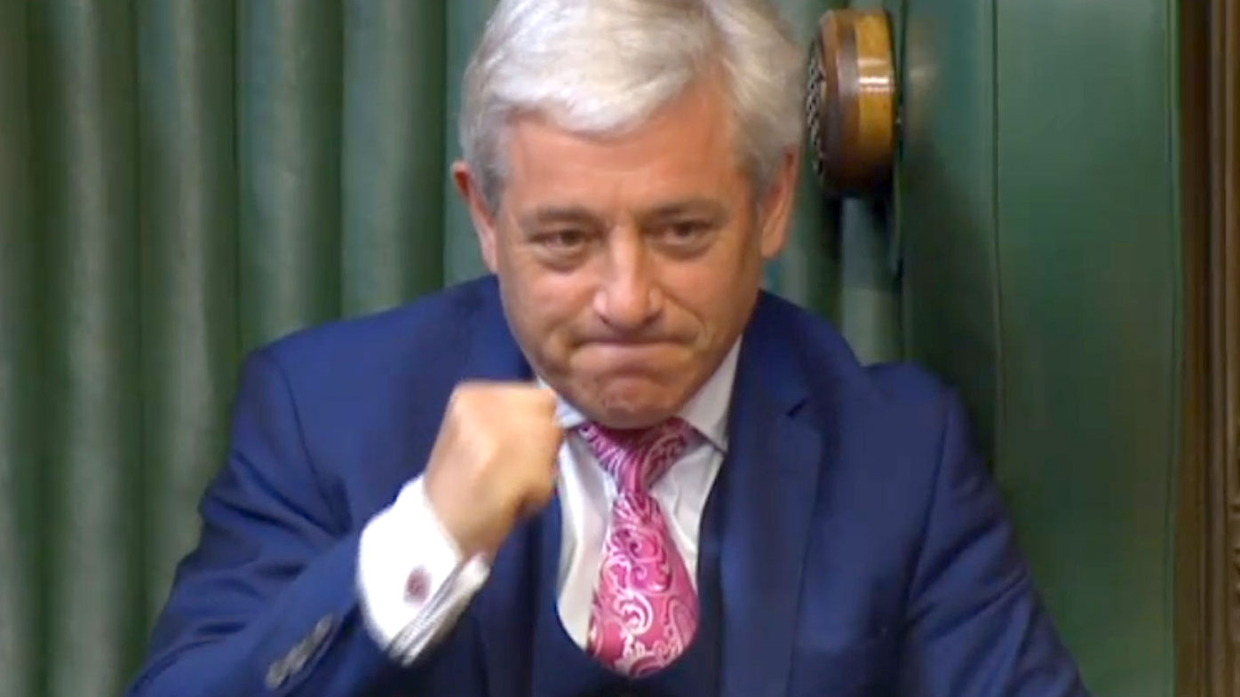 Speaker John Bercow shakes his fist in the House of Commons. (AAP)