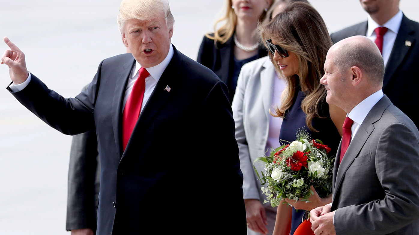US President Donald Trump and First Lady Melania Trump arrive in Hamburg for G20. (AAP)