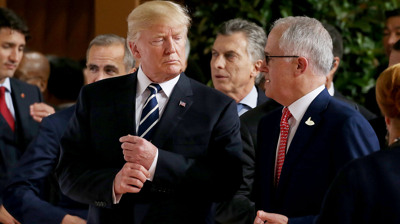 Trump and Turnbull reunite at G20 for first time since leaked impersonation