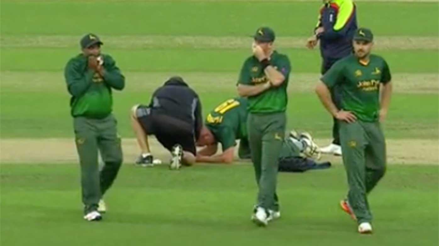 English bowler Luke Fletcher cops sickening blow to the head