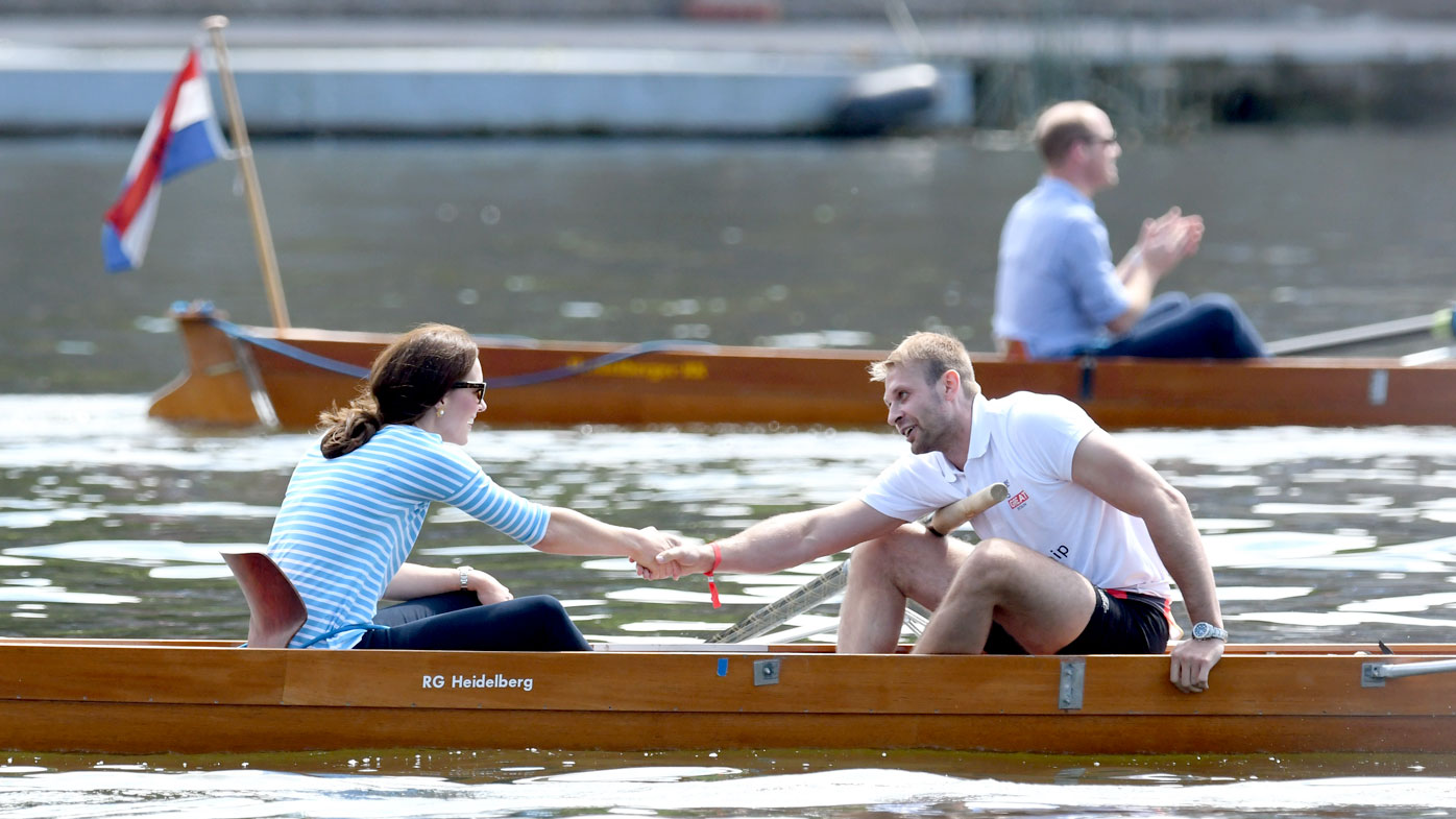 Catherine, Duchess of Cambridge participates in a rowing race against Prince William, Duke of Cambridge, during their official visit to Germany. (Getty)