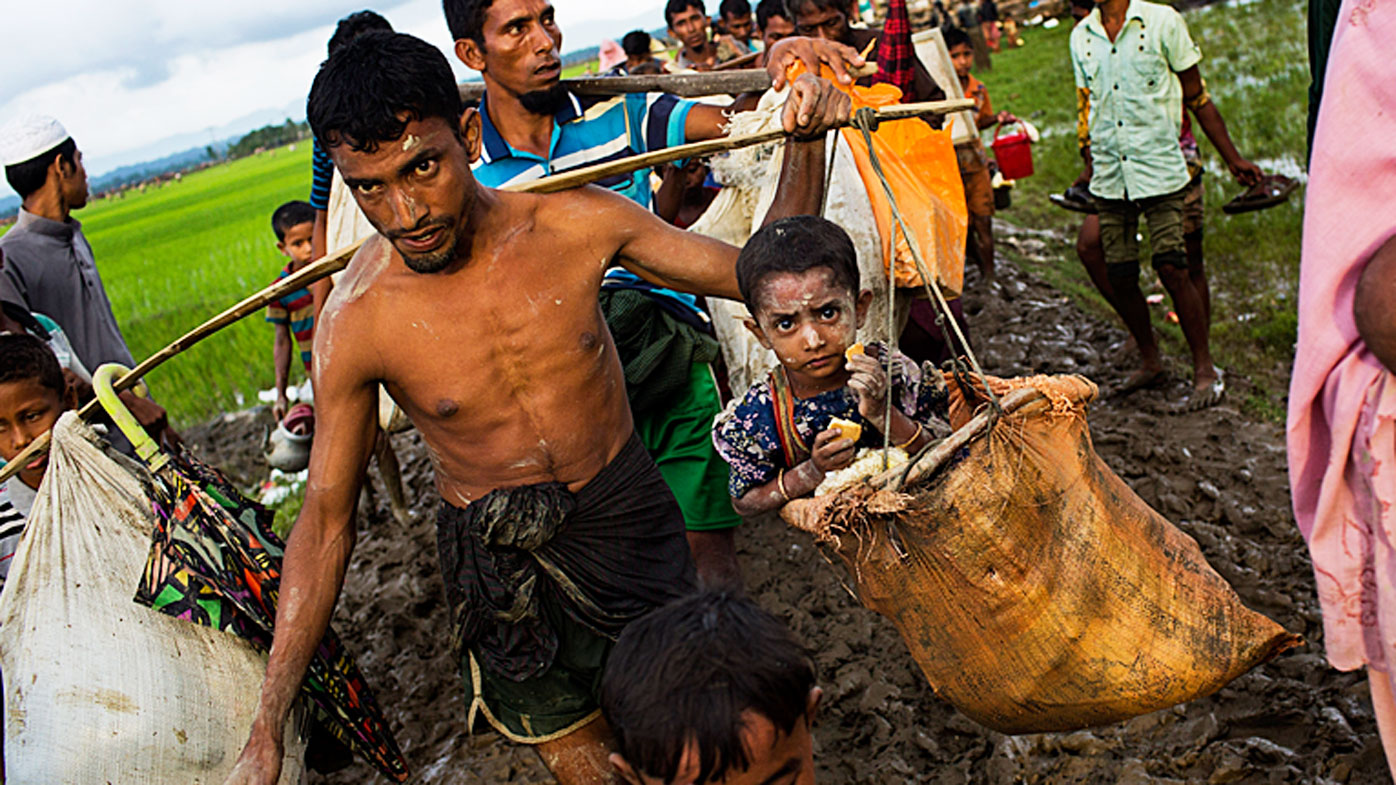 Rohingya refugees flee persecution from Myanmar.