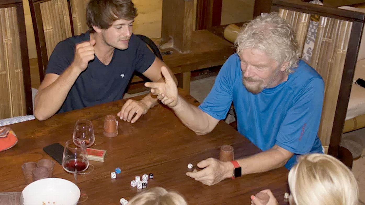 Richard Branson plays games with staff ahead of the arrival of Hurricane Irma. (Virgin Media)