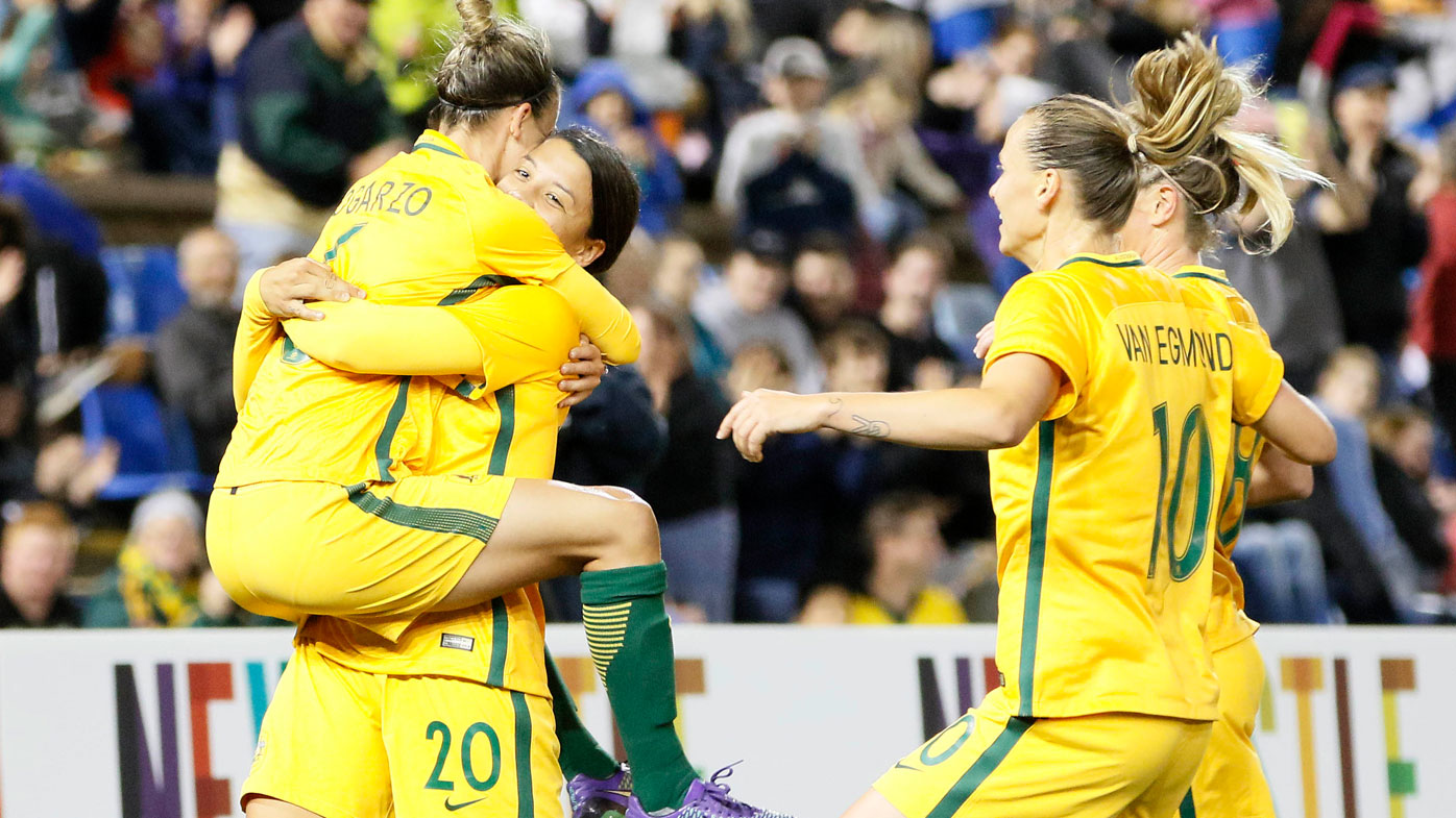 Sam Kerr of the Matildas celebrates her second half goal with team mates during the second match of the two-match International Series between the Matildas and Brazil at McDonald Jones Stadium, Newcastle. (AAP)