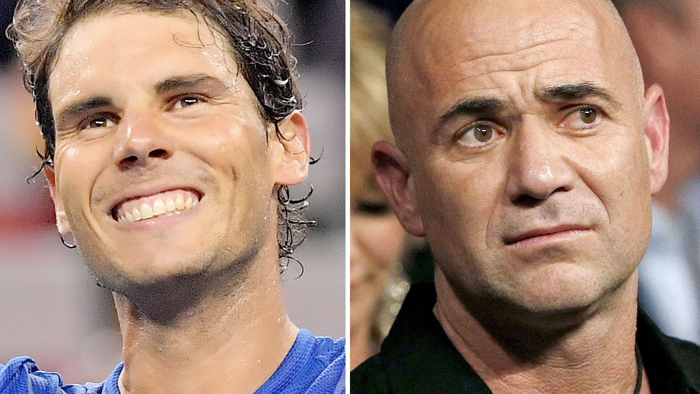 Rafael Nadal (left) and Andre Agassi. (AAP)