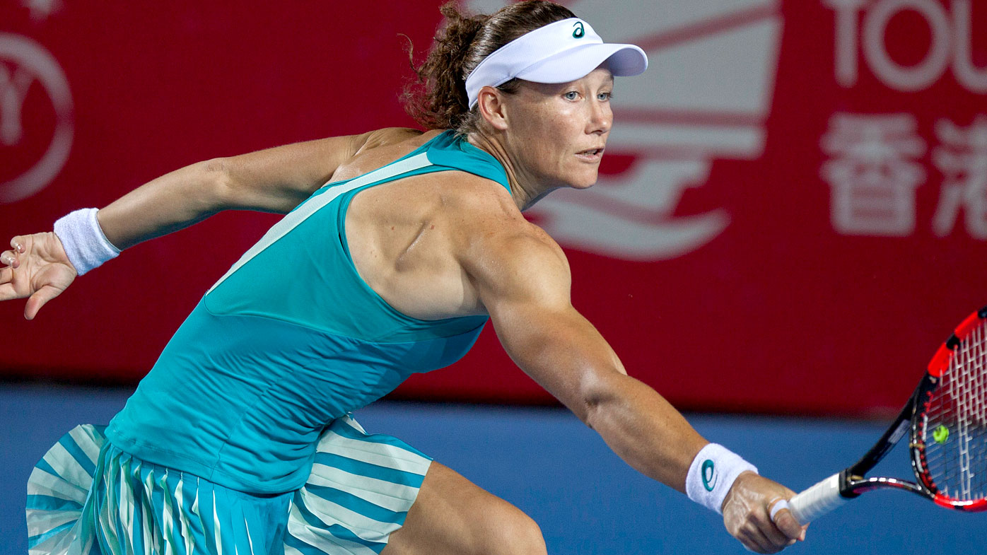 Samantha Stosur during her quarter-final loss at the Hong Kong Open