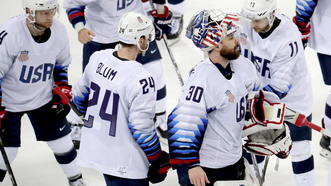 The US ice hockey team competes at the PyeongChang Winter Olympics. (AAP)
