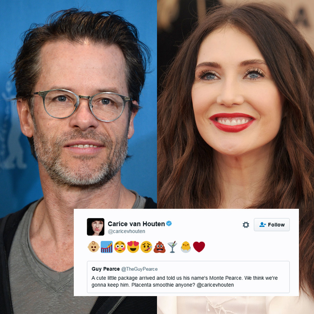 Guy Pearce and Game of Thrones star Carice van Houten welcome a baby boy, reveal his name on Twitter