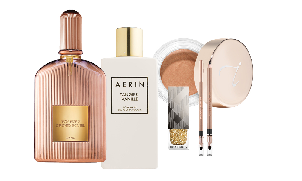 """<p>Nothing lifts the spirit quite like a beautiful makeup collection – except for a cool matching bag to keep it in. Here, a quick collection of the very best of both.</p> <p><a href=""""http://www.sephora.com/orchid-soleil-P410198?skuId=1849975&icid2=products%20grid:p410198"""" target=""""_blank"""">Tom Ford Orchid Soleil Eau de Parfum, $275.</a></p> <p><a href=""""http://www.esteelauder.com.au/products/17140/Landing-Pages/Tangier-Vanille"""" target=""""_blank"""">AERIN Tangier Vanille Body Wash, $75.</a></p> <p><a href=""""https://au.burberry.com/nail-polish/"""" target=""""_blank"""">Burberry Limited Edition Nail Polish, $29.</a></p> <p><a href=""""https://nudebynature.com.au/shop/make-up/contour-eye-pencil/"""" target=""""_blank"""">Nude by Nature Contour Eye Pencil, $16.95.</a></p> <p><a href=""""https://janeiredale.com/au/en.htm"""" target=""""_blank"""">Jane Iredale Smooth Affair for Eyes, $55.</a></p>"""