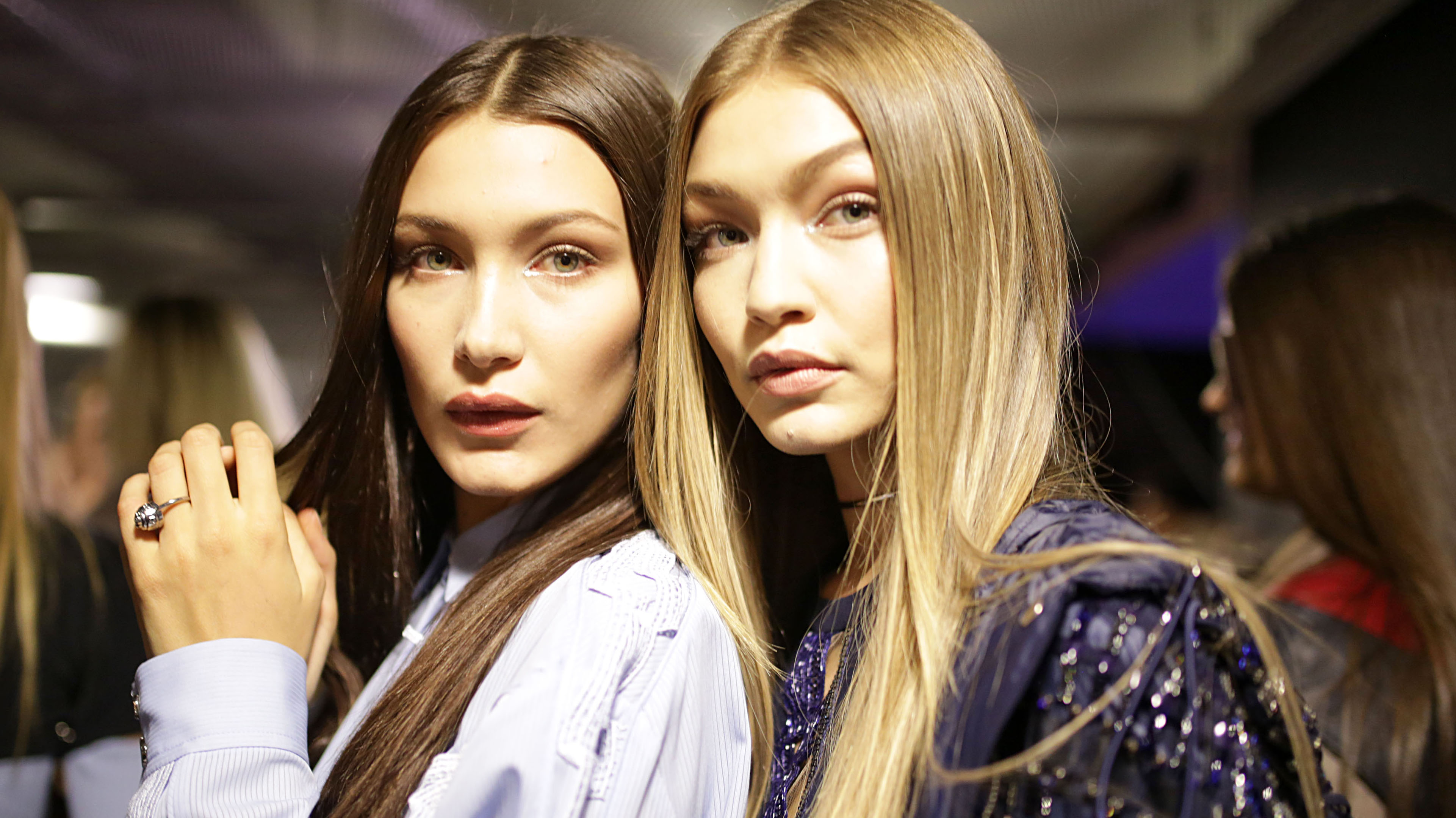 Silver shimmer sensation on Bella and Gig Hadid.