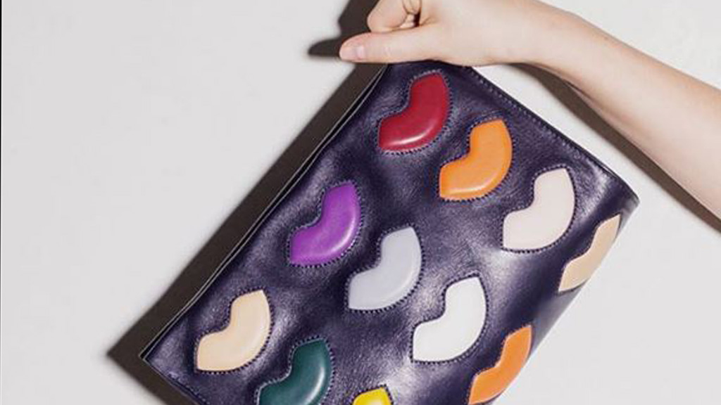 A quirky lip applique clutch from A-ESQUE