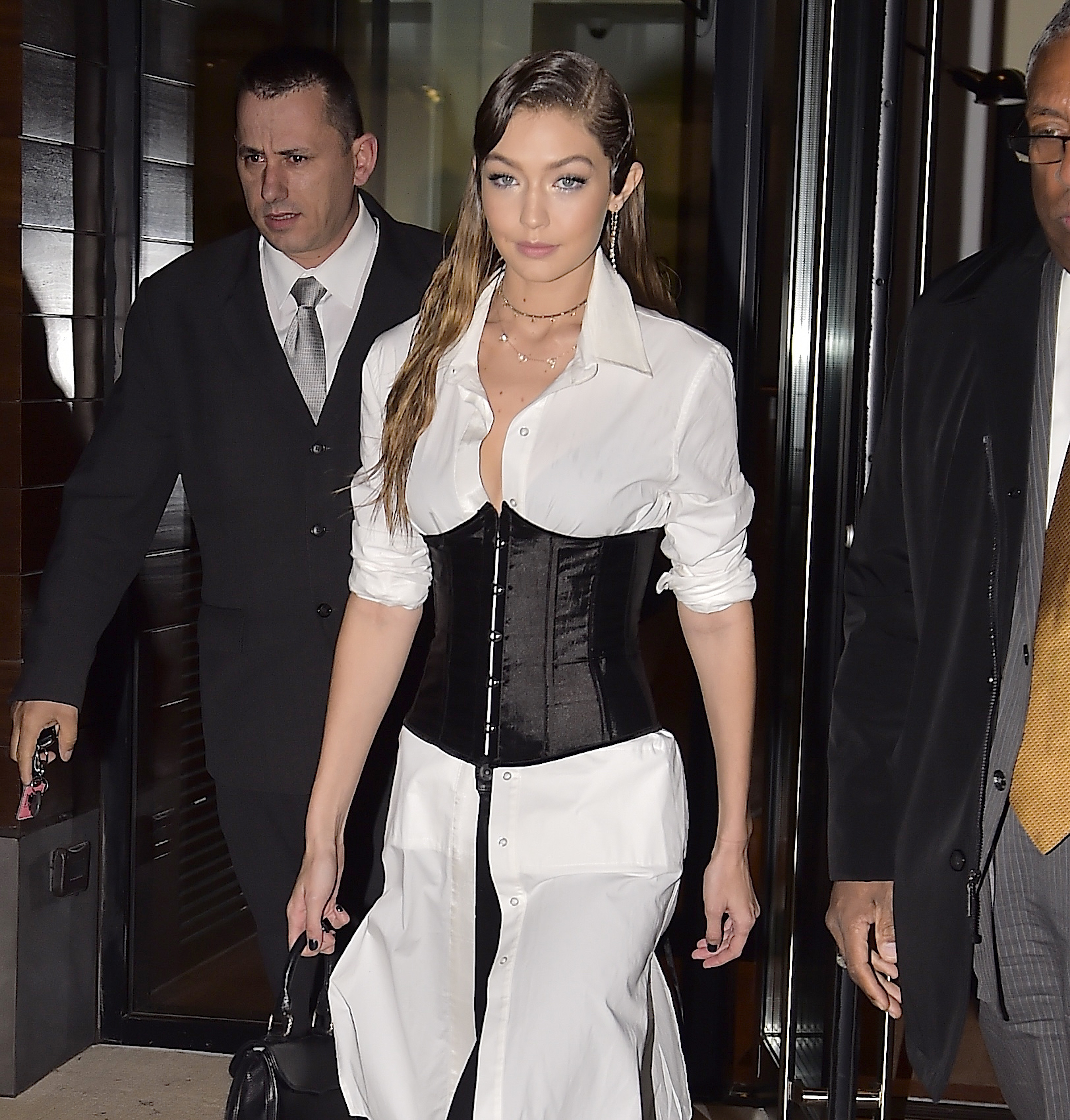"""<p>Gigi Hadid has followed Kim Kardashian's lead and gotten wrapped up in the corset trend that took over the autumn/winter runways in February.</p> <p>At the New York launch of her boot collaboration with Stuart Weitzman the 21-year-old showed how to work the waist-accentuating trend without looking like a Victorian throwback.</p> <p>While a Gigi boot will set you back $745 corsets come in all prices. Dip your toe into the trend with a corset-style belt worn over shirting, like Gigi, or look for blazers and shirts with corset lacing.</p> <p>The trick is not to think of the corset as an outdated lingerie staple but rather as a fetish-forward belt to enliven dull daywear.</p> <p>Now make like Gigi and breathe in.<span class=""""Apple-tab-span"""" style=""""white-space: pre;""""></span></p>"""