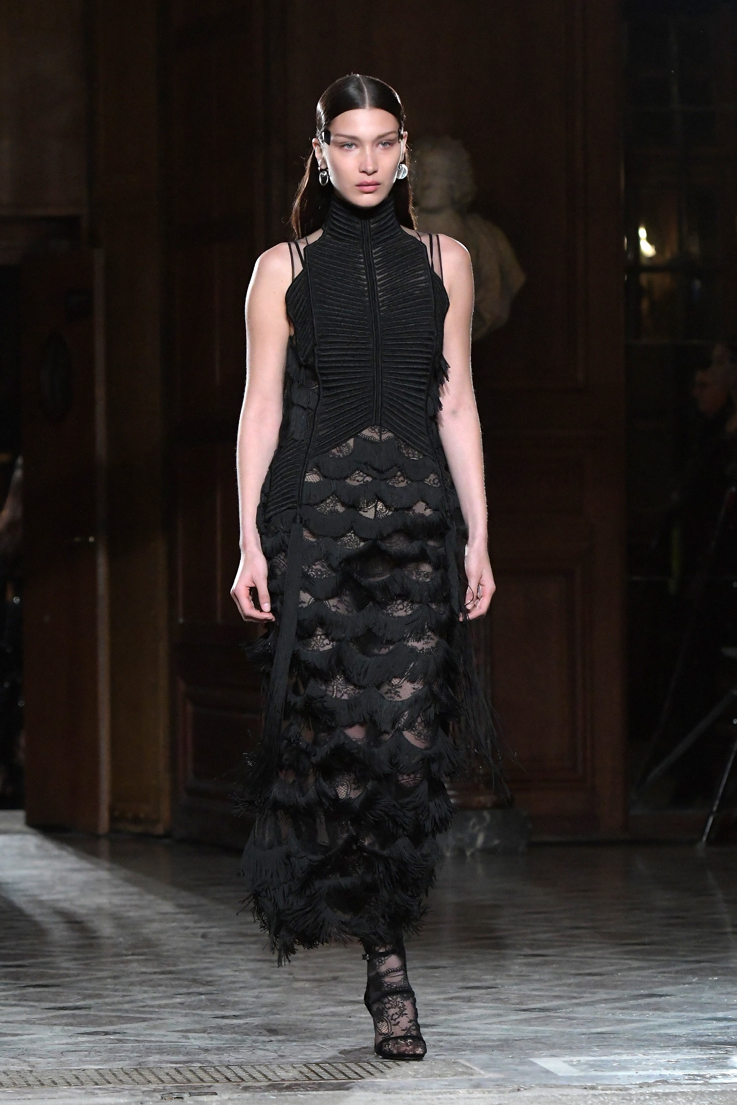 <p>The Givenchy show for Autumn/Winter 2017 Paris Fashion Week was star studded with both Bella Hadid and Kendall Jenner walking the runway.</p> <p>Social media stars and models of the moment Bella, 20, (pictured here) and Kendall, 21, brought the Gen Y element while fashion veterans, and Givenchy regulars, including Joan Smalls, 28, and Liya Kebede, 38, added gravitas and grace. A number of regular runway models also featured.</p> <p>The combination of all of the above gave the show an eclectic, exciting buzz and the fashion more than lived up to it. The women's pieces were delicate and eclectic in rich, deep colours and patterns too. The men were considerably more bold, bright and modern and yet somehow the two were perfectly aligned - see the looks here and judge for yourself.</p>