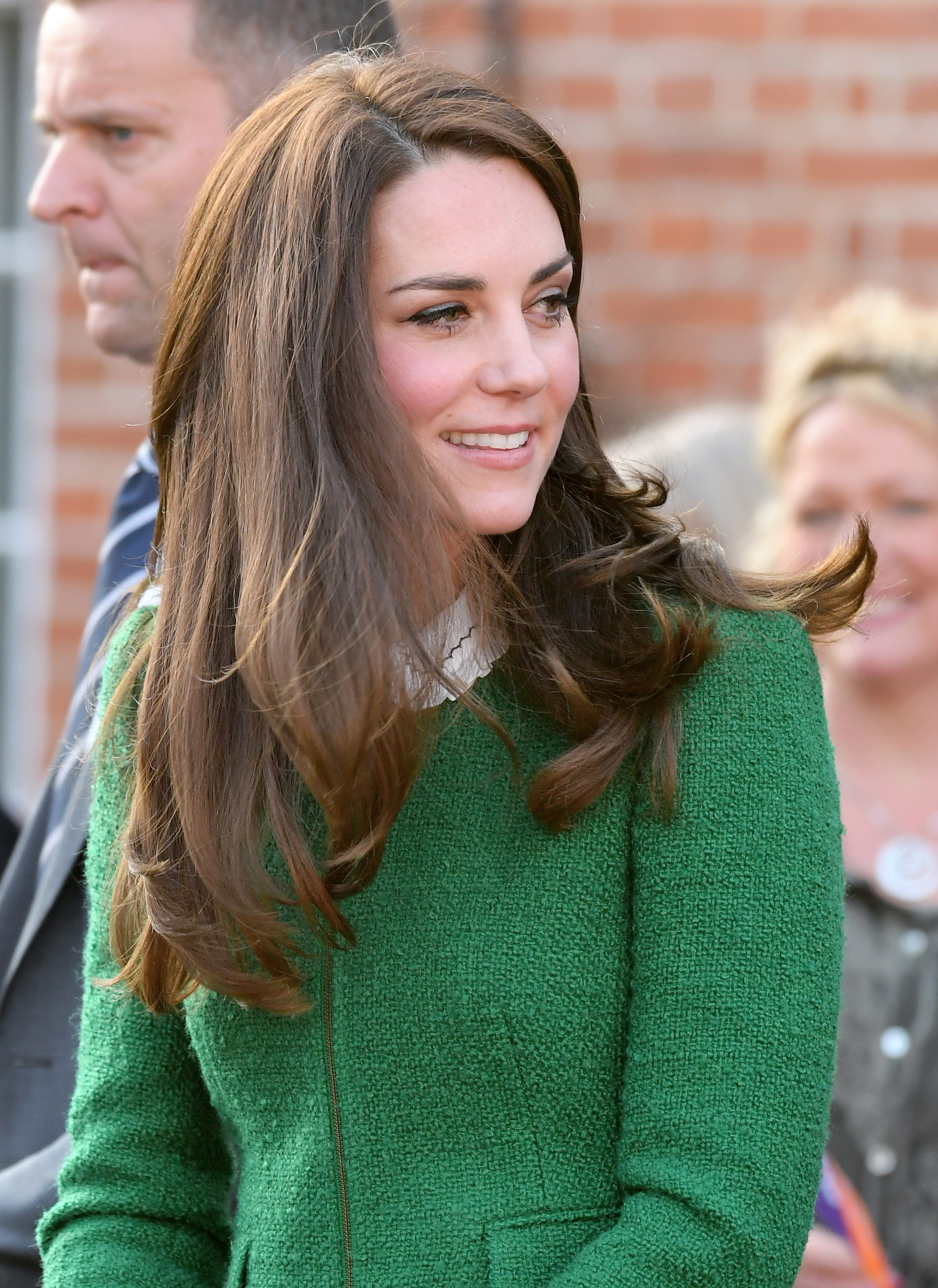 The Duchess of Cambridge in a green skirt suit, strikingly similar to one worn by Ivanka Trump. Image: Getty.