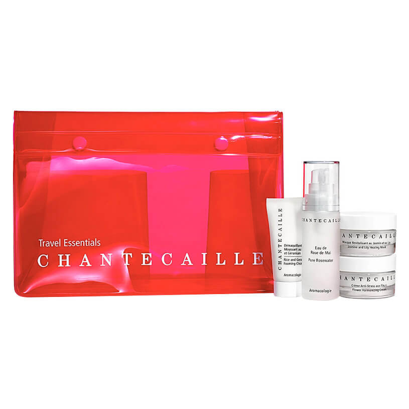 """<a href=""""http://mecca.com.au/chantecaille/travel-essentials-kit/I-025814.html"""" target=""""_blank"""">Chantecaille Travel Essentials Kit, $253.</a><br> Travel-friendly editions of the Rice and Geranium Foaming Cleanser (15ml), Pure Rosewater (30ml), Flower Harmonizing Cream (30ml) and Jasmine and Lily Healing Mask (30ml)."""