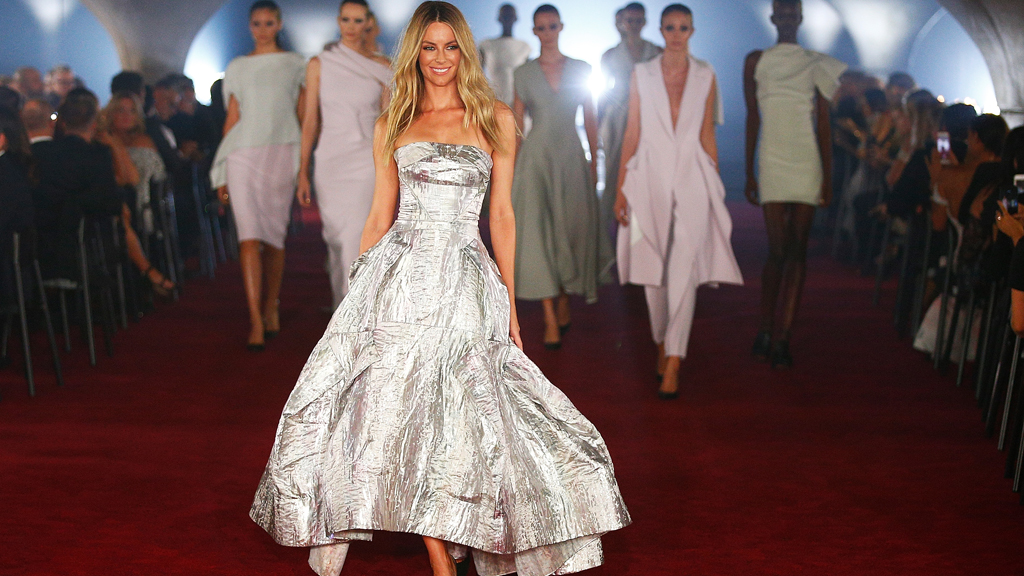 Jennifer Hawkins stunning in silver Toni Maticevski for Myer. Image: Getty.
