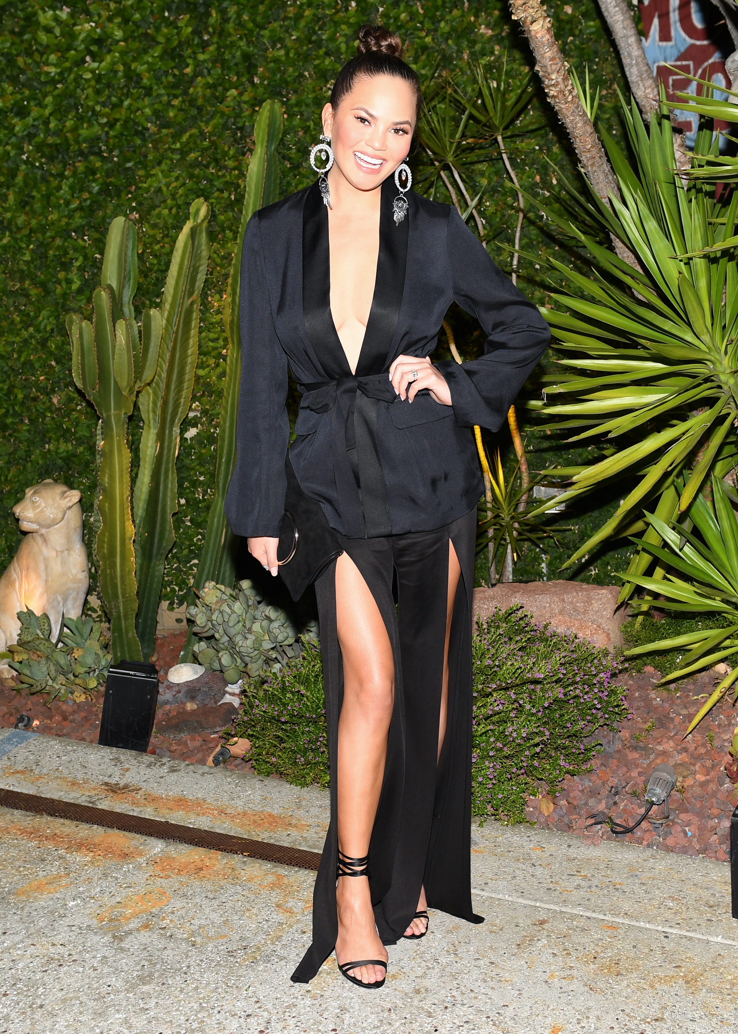 "<p>If you're waiting for confirmation that sliced pants are the new bell sleeves, or high-waisted jeans, then Chrissy Teigen just delivered it at an exclusive dinner for H&M in Los Angeles.</p> <p>Having already survived a wardrobe malfunction last year due to a slit dress at the AMAs, the wife of John Legend played it safer at the celebration for the H&M Conscious Exclusive Collection. The range makes use of sustainable fabrics.</p> <p>Chrissy was joined by Orlando Bloom, Hailey Baldwin, Kate Mara, Sasha Lane and Lucky Blue Smith all dressed in the Conscious Exclusive collection, available online at <a href=""http://www.hm.com/au/"" target=""_blank"">hm.com</a> from April 20.</p> <p>""I am proud to be the face of the H&M Conscious Exclusive campaign,"" said supermodel Natalia Vodianova. ""It's amazing to see the advances in sustainable fabrics that are used in the collection, pointing towards a more sustainable future for all fashion."" </p> <p > ""Conscious Exclusive is a chance to dream and create pieces that are both edgy and beautiful. It's great to be able to show just what is possible with sustainable materials like we have done with the delicate plissé dress,"" says Ann-Sofie Johansson, Creative Advisor at H&M.</p> <p>The dinner was held at SmogShoppe, a sustainably designed urban spaces.</p>"