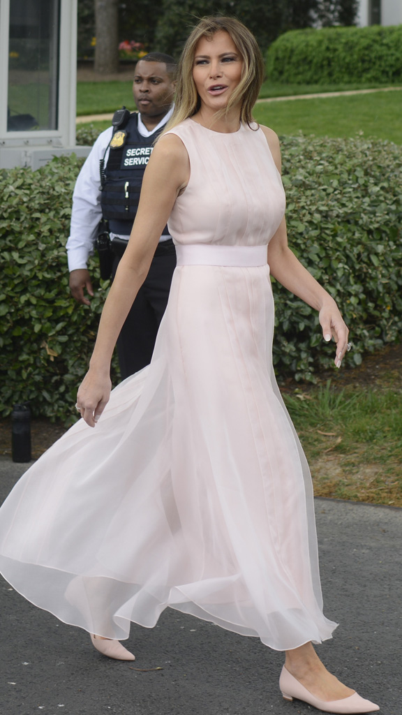 <p>Jackie Kennedy had Oleg Cassini, Nancy Reagan had Galanos and now Melania Trump seems to be stitched up with Herve Pierre. The designer has stepped into the brink after Tom Ford, Sophie Theallet, Christian Siriano, Marc Jacobs, Zac Posen and Derek Lam refused to collaborate with Melania in protest of Donald Trump's policies.</p> <p>The First Lady stepped out in a belted sleeveless dress in blush from the former creative director at Carolina Herrera for the annual Easter Egg Roll on the White House South Lawn.</p> <p>The dress was structurally similar to the dress worn by Melania to greet Queen Rania of Jordan, and advocate for women's rights in the Middle East who if frequently featured on the International Best Dressed List.</p> <p>This time Melania wore matching Christian Louboutin pointed-toe flats instead of stilettos to stop her from sinking in to the grass.</p> <p>Herve also worked with Melania on her inauguration gown and has become a favourite of the First Lady, along with Dolce & Gabbana and Gucci.</p> <p>Meanwhile First Daughter Ivanka has  been spreading her style wings, stepping out recently in a $5000 Oscar de la Renta lace dress.<br /> <br /> </p>