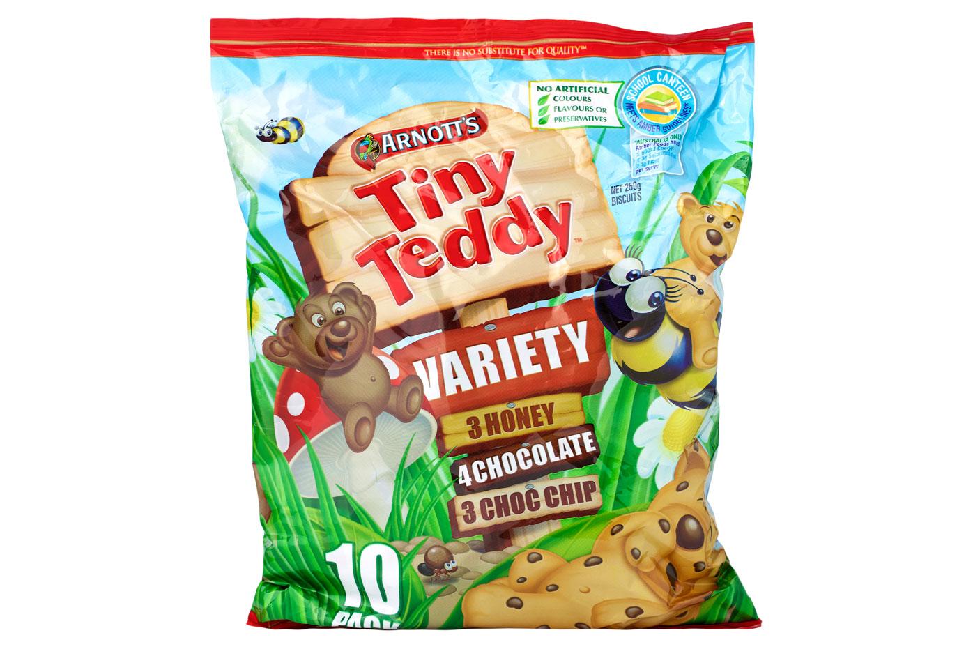 Tiny Teddy Chocolate: 0.5g sugar per biscuit (1 teaspoon = 4g sugar)