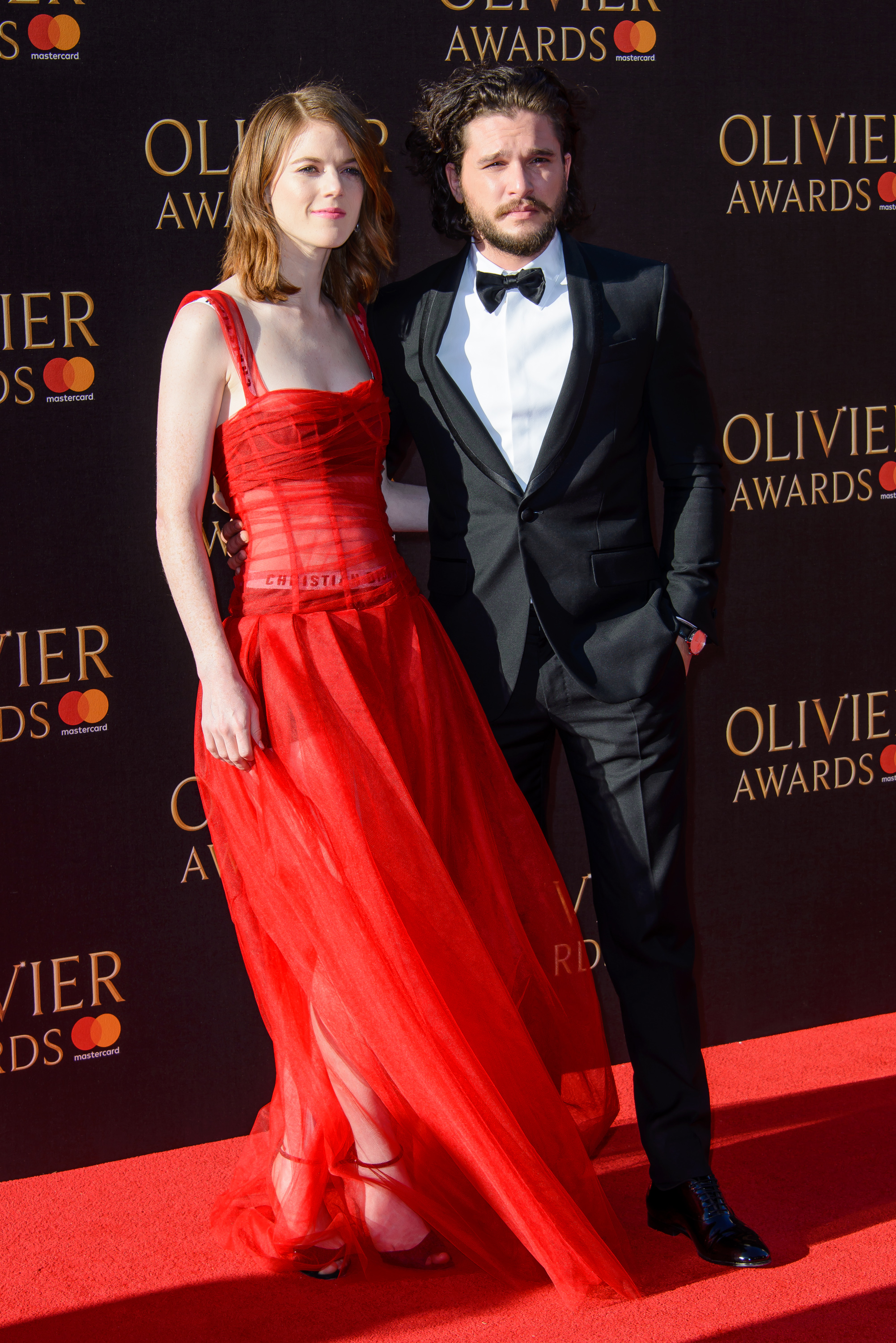 "<p>Their love may have been doomed on <em>Game Of Thrones</em> but Kit Harington,<a href=""http://style.nine.com.au/2017/02/22/11/07/beauty-campaigns-celebrity-model-actress-star-angelina-jolie-selena-gomez"" target=""_blank"" draggable=""false""> face of Dolce & Gabbana</a> and hard-to-kill Jon Snow and his girlfriend Rose Leslie, the late Ygritte, but the couple ruled the red carpet at The Olivier Awards in London on the weekend.</p> <p>Rose, who currently stars in the US series <em>The Good Fight</em>, a follow-up to <em>The Good Wife</em>, gave a flash of Dior bra and knickers in a red, sheer corset dress. </p> <p>Ruth Wilson, star of <em>The Affair</em>, also opted for Dior on the red carpet.</p> <p> See <em>Glee'</em>s Amber Riley and <em>Doctor Who</em>'s Billie Piper award-winning looks </p>"