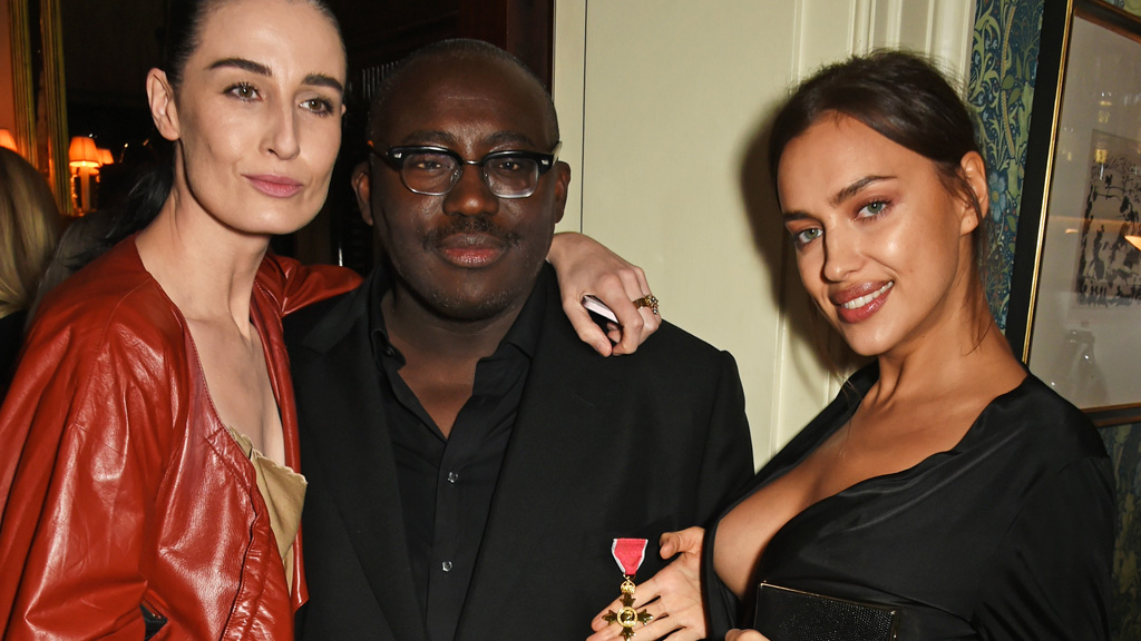 The new editor of British Vogue Edward Enninful with supermodels Erin O'Connor, Irina Shayk