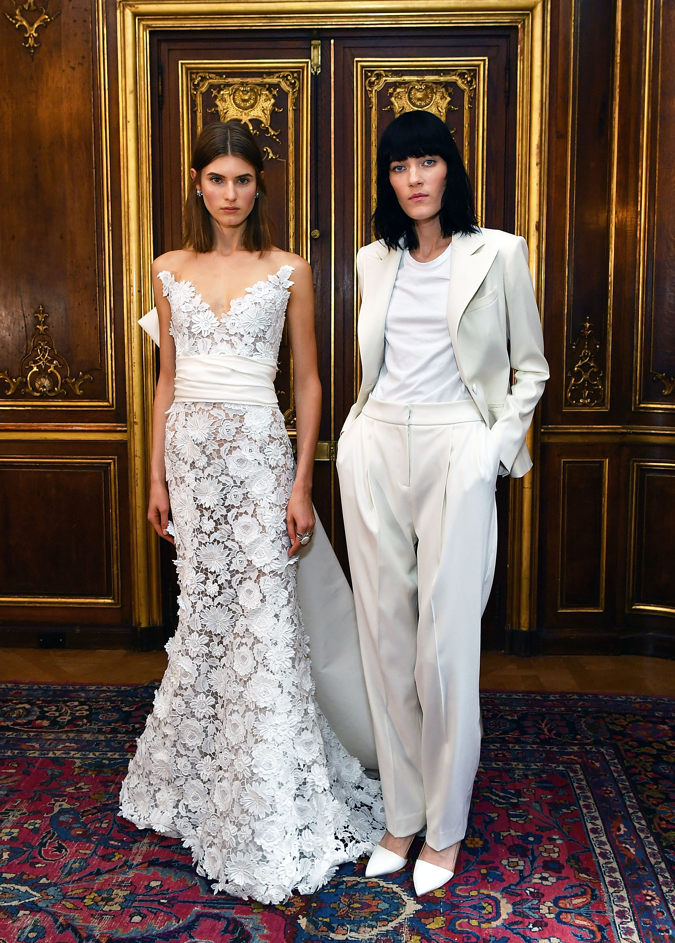 "<p>Attention prospective contestants for the next season of <a href=""http://style.nine.com.au/2017/01/25/14/44/married-at-first-sight-wedding-gowns-dresses-style-bride"" target=""_blank""><em>Married At First Sight</em></a>. The wedding suit has usually been reserved for grooms but at New York Bridal Fashion Week we spotted an increase in the number of white trousers and jumpsuits for brides who don't dig dresses.</p> <p>From slouchy styles at Oscar de la Renta, to sleek '60s chic at Viktor and Rolf, here are the perfect choices for the bride who insists on wearing the pants.</p>"
