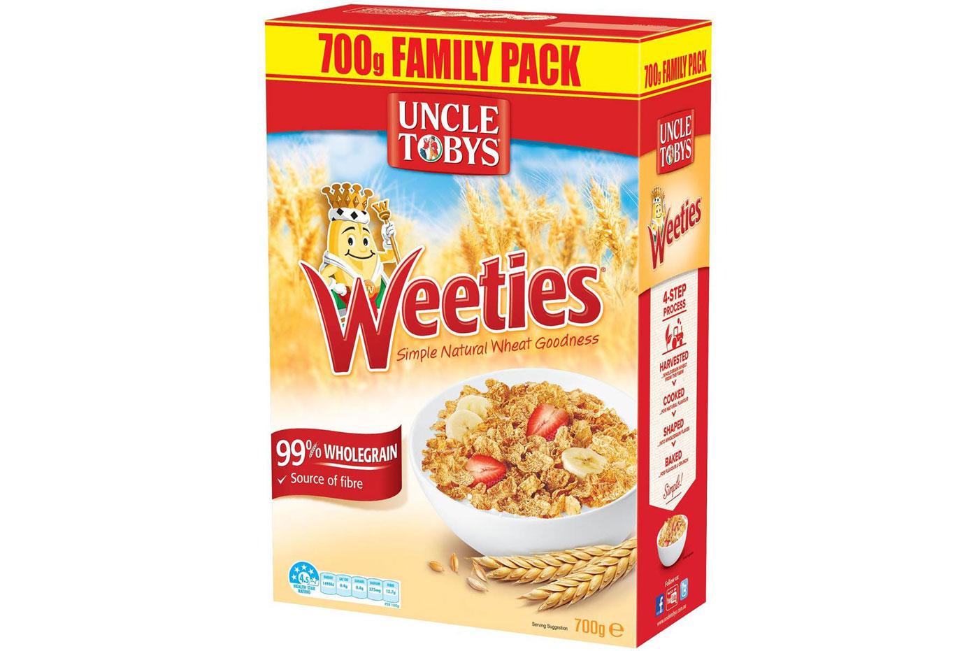 Uncle Tobys Weeties: Practically no sugar