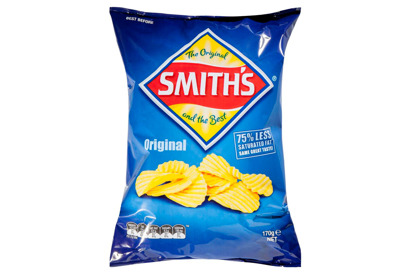 Smith's original potato chips: at least 617kj/147 calories