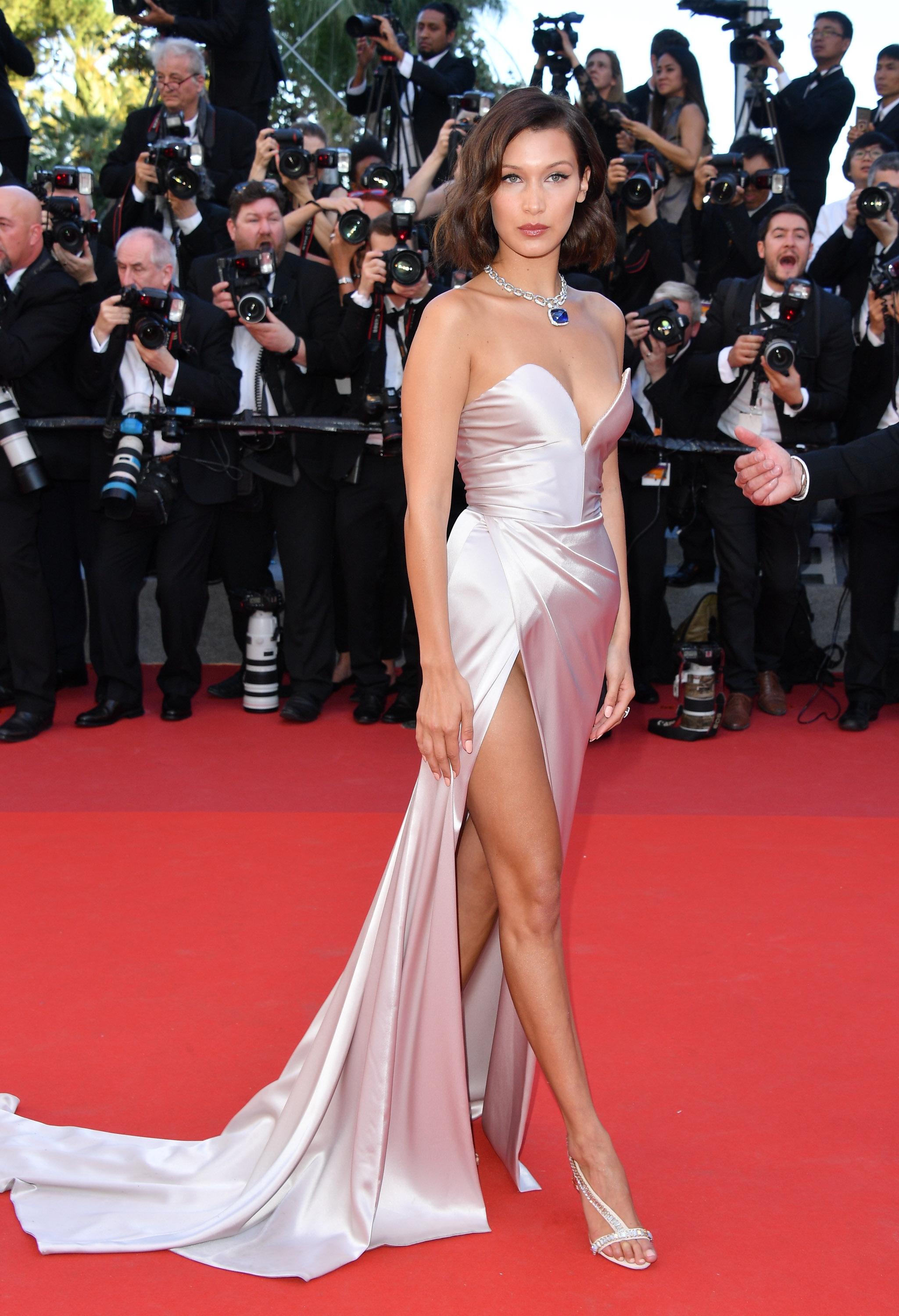 Model Bella Hadid In Alexandre Vauthier At The  Cannes Film Festival