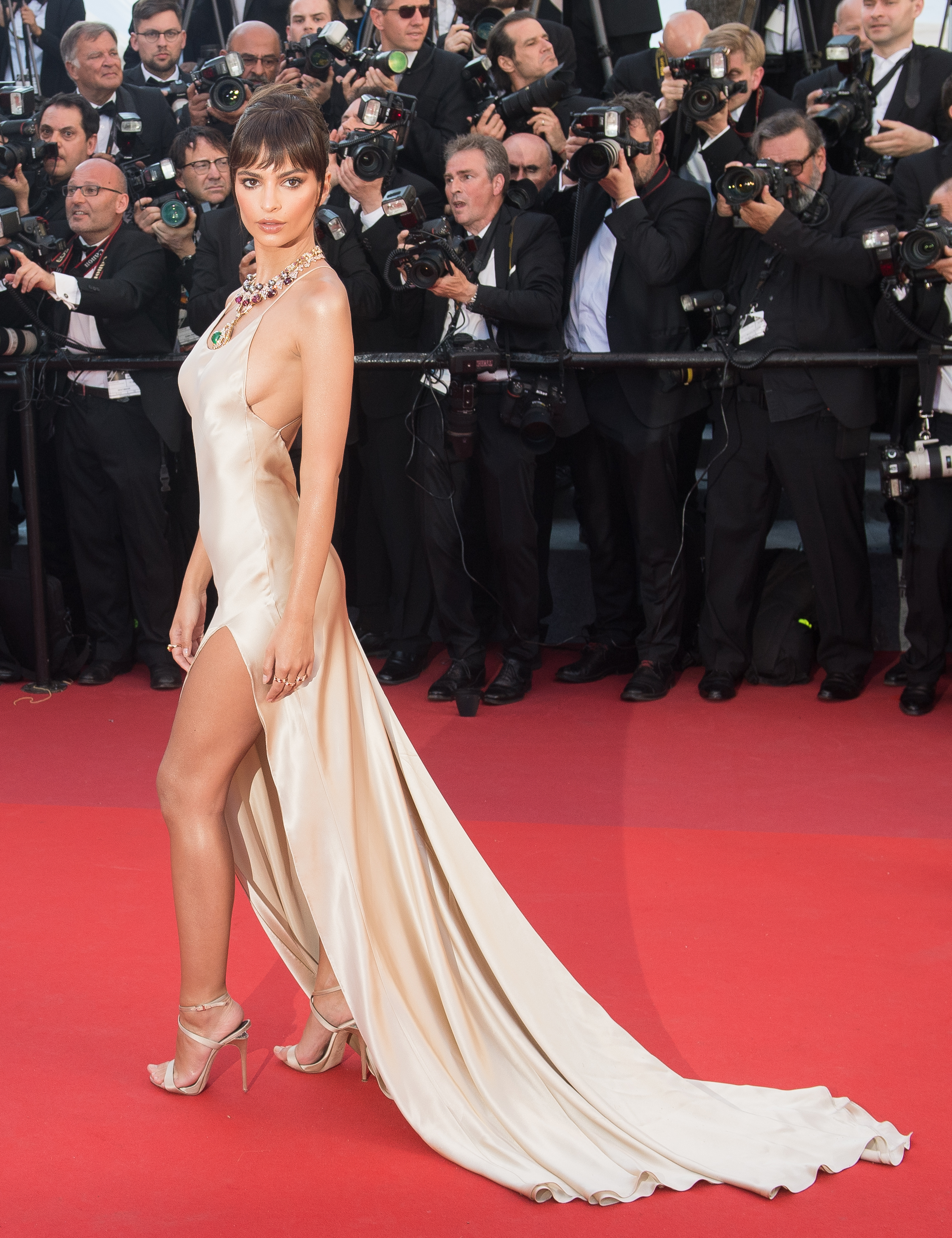<p>Model and actress Emily Ratajkowski, certainly knows how to make an entrance on a red carpet as she turned heads at the opening of this year's Cannes Film Festival in a sheer, nude slip gown by Twinset Simona Barbieri that was accessorised with colourful statement jewels from Bulgari.</p> <p>The star of the Blurred Lines video and <em>Gone Girl</em> wasn't the only one who made a statement with a barely-there appearance.</p> <p>Supermodel Bella Hadid paid homage to her show-stopping, thigh-high look from last year's Cannes red carpet in a gown by Alexandre Vauthiere that left little to the imagination. </p> <p>The film festival's red carpet hasn't just been all risqué slits and nude gowns.</p> <p>Model Lily-Rose Depp channelled a Greek goddess in a flowing gown by Chanel, and Elle Fanning donned a breathtaking Vivienne Westwood creation that was reminiscent of the glamorous gowns that have shaped the Cannes red carpet throughout its 70-year history.</p> <p>Click through to see the best red carpet looks so far from this year's Cannes Film Festival. </p>