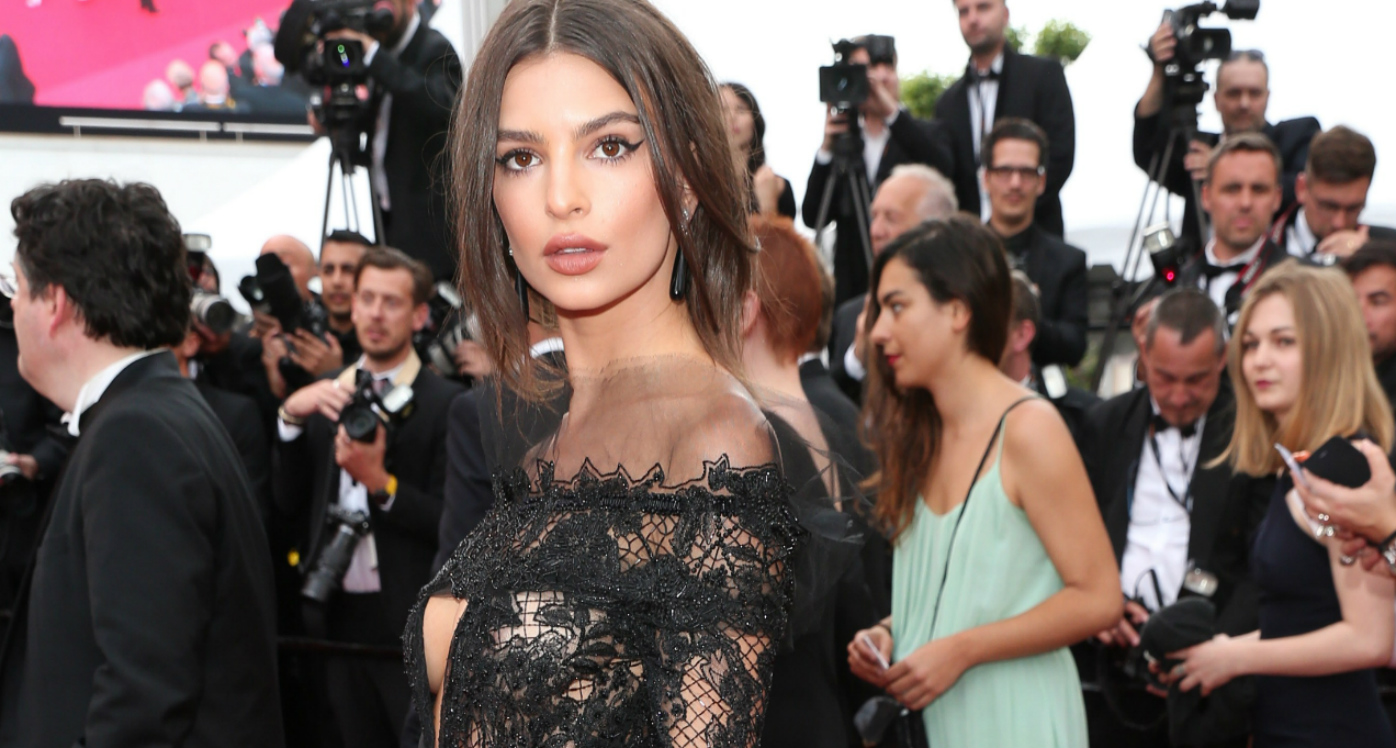 Emily Ratajkowski narrowly avoids wardrobe malfunction at Cannes in sheer lace gown