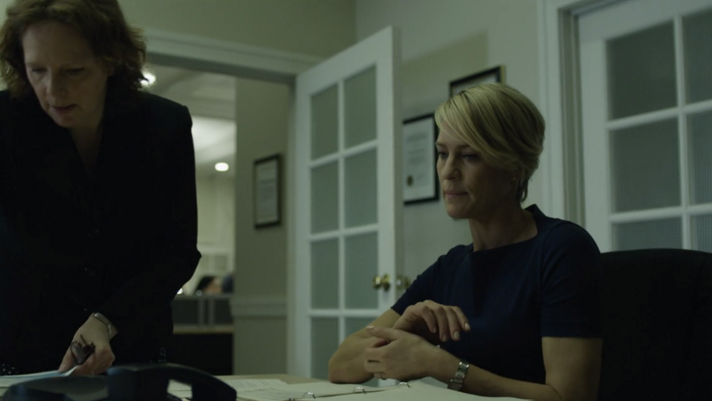 Claire Underwood begins as an environmental lobbyist in Washington and while her role overlaps with congressman husband Frank Underwood, she very much has her own place in the world as a working girl.