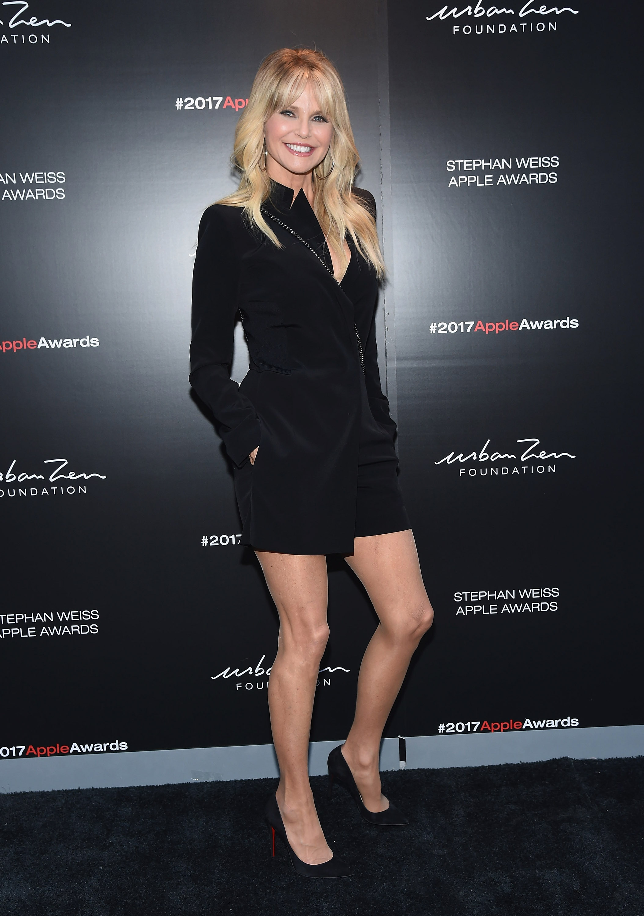 "<p>Christie Brinkley, 63, demonstrated that age is just a number with a display of toned legs at the Stephan Weiss Apple Awards at the Urban Zen Center in New York City today.</p> <p>The awards, organised by designer Donna Karan, honoured former US Secretary of State of First Lady, Hillary Clinton along with businesswoman Nadia Swarovski.</p> <p>Brinkley, a former Vogue cover model and Sports Illustrated star from the '80s pays no attention to her age and recently revealed that she still wears a bikini at every opportunity.</p> <p>""I always put a bikini on and say, 'Oh, it is just to wear around the house. I am not going to go anywhere in it. I just want to get a little color while I am gardening,'"" Brinkley, told <a href=""http://people.com/style/christie-brinkley-bikini-gardens/"" target=""_blank"" draggable=""false"">PeopleStyle</a>. ""I run around trimming my begonias to even everything out so I don't have any tan lines.""</p> <p>The ex-wife of piano man Billy Joel returned to the pages of <em>Sports Illustrated</em> this year alongside daughters Alexa Ray Joel, 31, and Sailor Brinkley Cook, 18.</p> <p>Posting the incredible image to Instagram, Brinkley thanked Sports Illustrated ""for sending the powerful message that good things come in packages of every size and we do not come with an expiration date.""</p> See Christie and other ageless beauties here."
