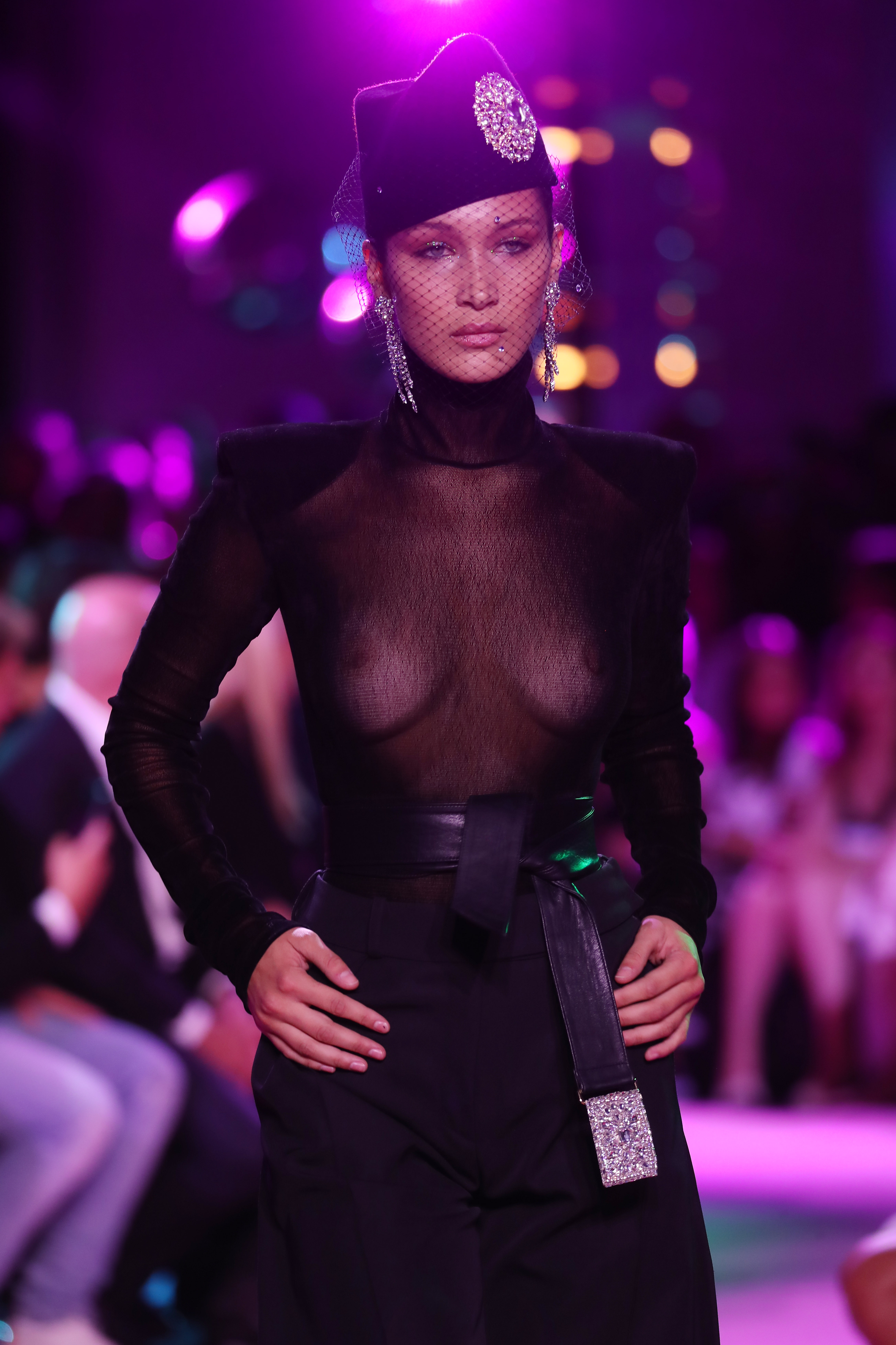 """<p>The rarefied world of haute couture was shaken up in Paris on Tuesday by Alexandre Vauthier's glistening tribute to Studio 54 with <a href=""""http://style.nine.com.au/bella-hadid"""" target=""""_blank"""" draggable=""""false"""">Bella Hadid</a> committing to the freewheeling spirit.</p> <p>The French designer who honed his theatrical spirit working with Jean Paul Gaultier persuaded the body positive 20-year-old to wear a black sheer top down the runway. Bella also wore a silver evening gown with a plunging neckline and power shoulders in the upbeat tribute to disco decadence.</p> <p>""""My mum is very European, so our whole life we were very open about that stuff. It was just more casual."""" Bella Hadid told <em><a href=""""https://www.net-a-porter.com/magazine/408/contents"""" target=""""_blank"""" draggable=""""false"""">Porter</a></em><a href=""""https://www.net-a-porter.com/magazine/408/contents"""" target=""""_blank"""" draggable=""""false""""> magazine</a> about her casual approach to baring all.</p> <p>Strobe lighting, disco balls and dry ice transformed the Grand Palais into a nightclub for the show.<br /> """"Sometimes couture can be super serious but I think it can still be fun,"""" Alexandre said. """"You can have the most expensive clothes in the world but it's a question of attitude. Enjoy beautiful things but don't be obsessed.""""</p>"""